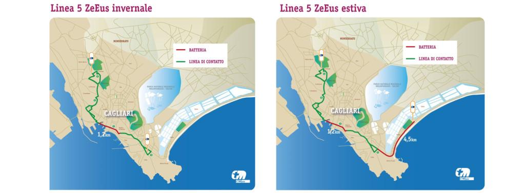 Il percorso della linea filobus 5 ZeEus di Cagliari