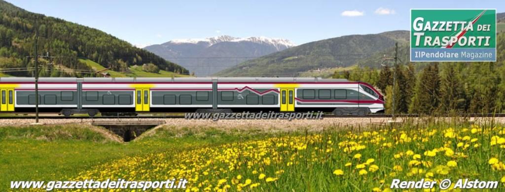 I colori del Trentino e il profilo delle Dolomiti nella livrea del Jazz - Render Alstom