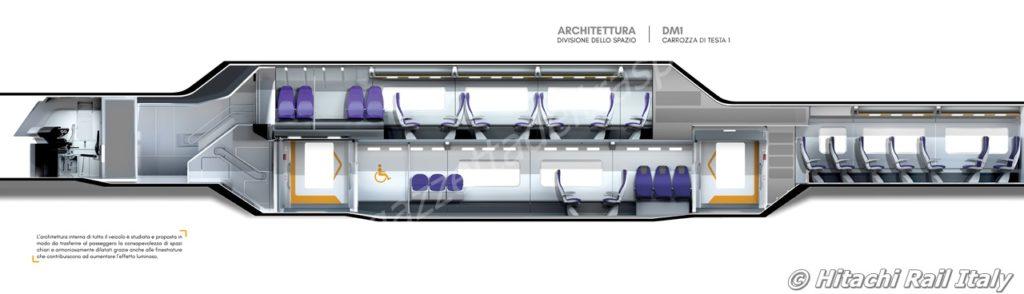 Sezione degli interni della carrozza di testa del treno Rock - Foto HRI