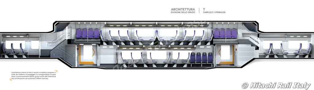 Sezione degli interni della carrozza intermedia del treno Rock - Foto HRI