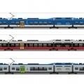Le tre livree proposte per i treni bimodali della Valle d'Aosta