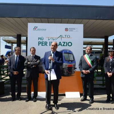 Il presidente della Regione, Nicola ZIngaretti, presenta Sezze il nuovo treno per i pendolari del Lazio - Foto Ferrovie dello Stato Italiane