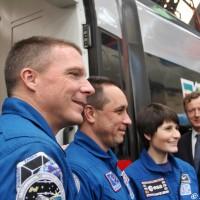 I tre astronauti prima di proseguire il viaggio per Bologna a bordo di un Frecciarossa - Foto Manuel Paa