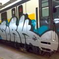 Immagine di repertorio di un treno della M3 vandalizzato - Foto Atm