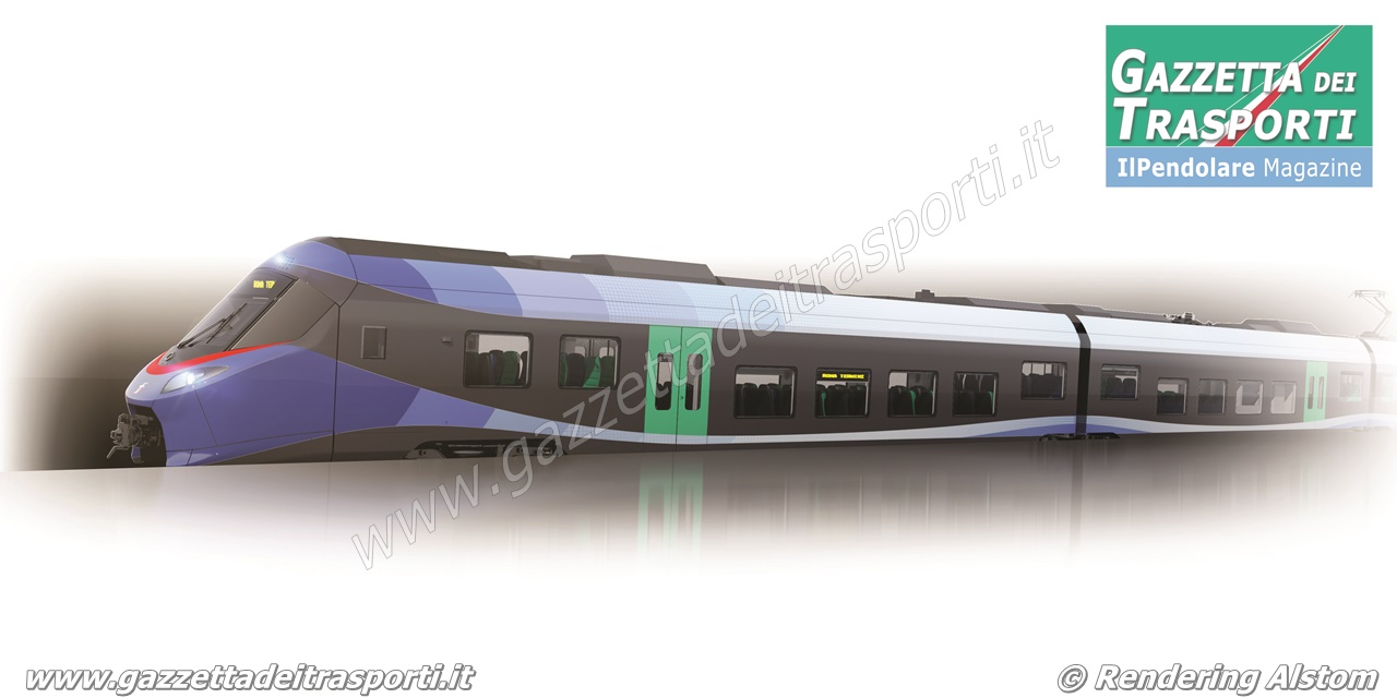 Rendering dei nuovi treni regionali che Alstom realizzerà per Trenitalia - Disegno Alstom/Design & Styling
