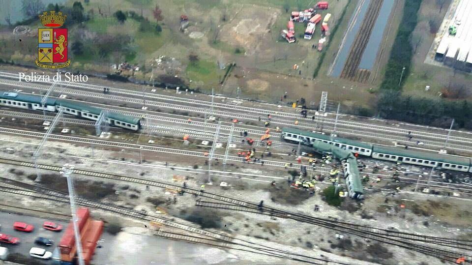 Il luogo dell'incidente ferroviario di Pioltello - Immagini Polizia di Stato
