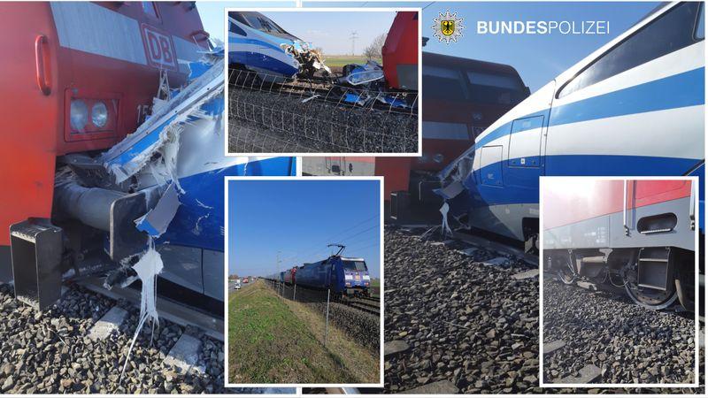 Pendolino ED250 di PKP si scontra su locomotiva BR152 di DB a Olching - Foto della Bundespolizei (Polizia Federale Tedesca)